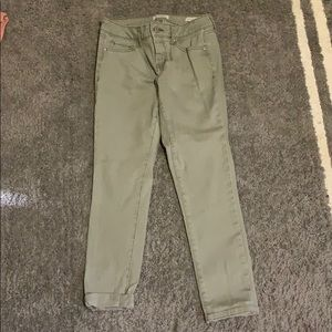Green/Grey Rolled Cropped Skinny Jeans